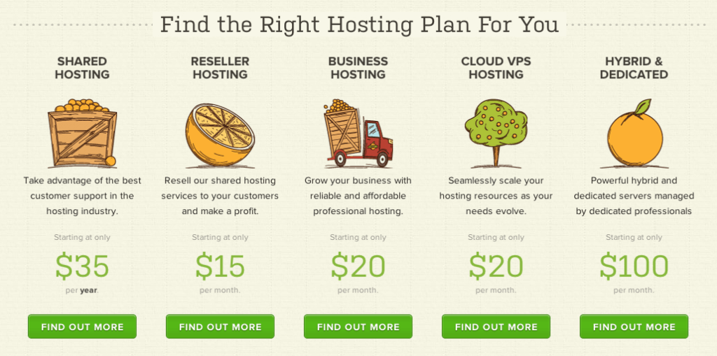 A Small Orange - Types of Hosting Plans