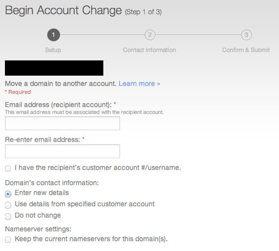 account change enter email address of recipient